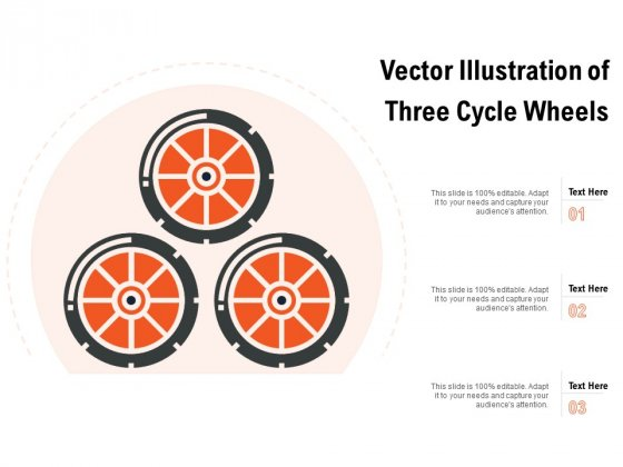 Vector Illustration Of Three Cycle Wheels Ppt PowerPoint Presentation Icon Design Templates