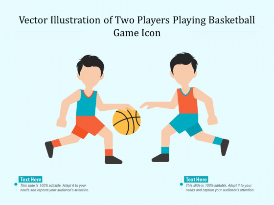 Vector Illustration Of Two Players Playing Basketball Game Icon Ppt PowerPoint Presentation Professional Images PDF