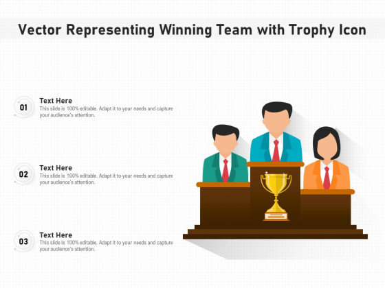 Vector Representing Winning Team With Trophy Icon Ppt PowerPoint Presentation Gallery Summary PDF