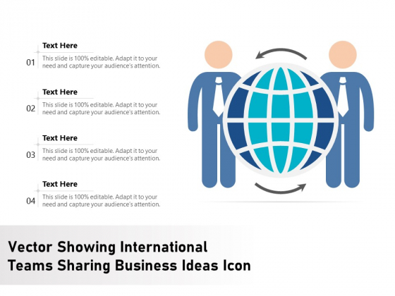 Vector Showing International Teams Sharing Business Ideas Icon Ppt PowerPoint Presentation Gallery Icons PDF