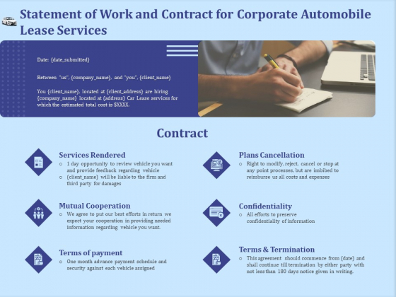 Vehicle Leasing Statement Of Work And Contract For Corporate Automobile Lease Services Ideas PDF