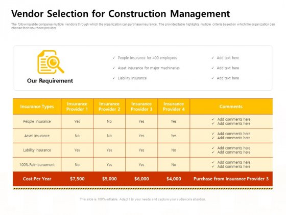 Vendor Selection For Construction Management Work Ppt Samples PDF