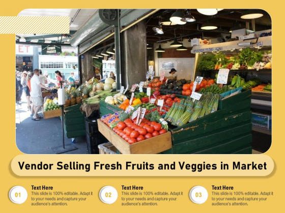 Vendor Selling Fresh Fruits And Veggies In Market Ppt PowerPoint Presentation File Vector PDF
