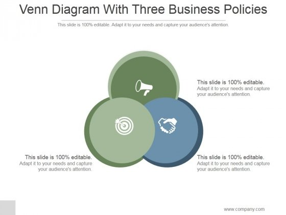 venn diagram with three business policies ppt powerpoint