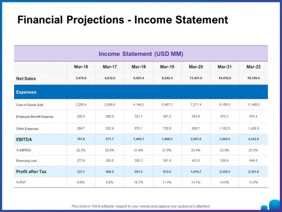 Venture Capital Funding For Firms Financial Projections Income Statement Ppt Layouts Professional PDF