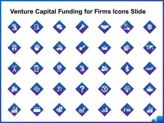 Venture Capital Funding For Firms Icons Slide Ppt Outline Graphics Tutorials PDF