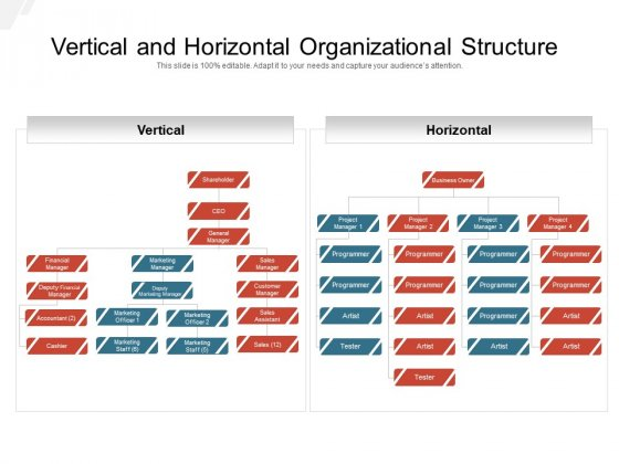 Vertical And Horizontal Organizational Structure Ppt PowerPoint Presentation Icon Information PDF