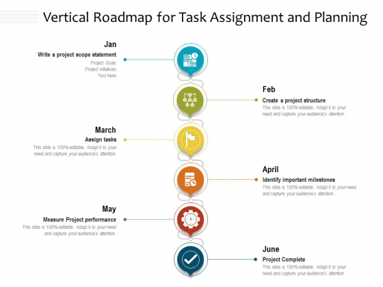Vertical Roadmap For Task Assignment And Planning Ppt PowerPoint Presentation File Background Image PDF
