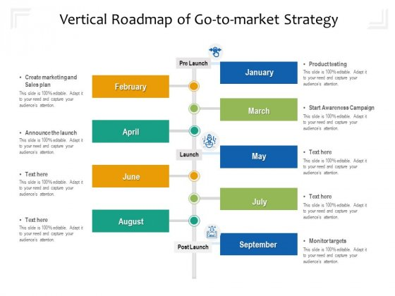 Vertical Roadmap Of Go To Market Strategy Ppt PowerPoint Presentation Icon Outline PDF