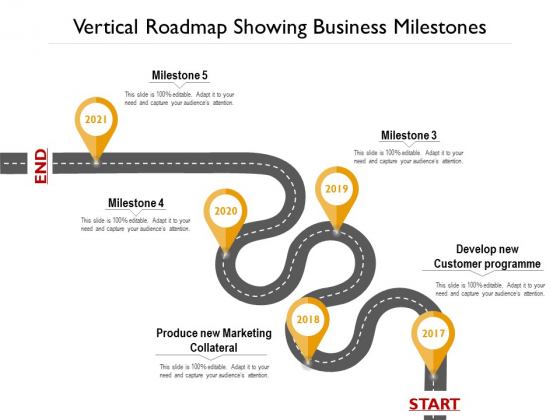 Vertical Roadmap Showing Business Milestones Ppt PowerPoint Presentation Gallery Example PDF