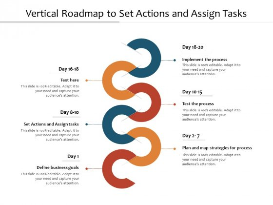 Vertical Roadmap To Set Actions And Assign Tasks Ppt PowerPoint Presentation Gallery Layouts PDF
