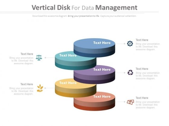 Vertical Steps For Data Management Powerpoint Template