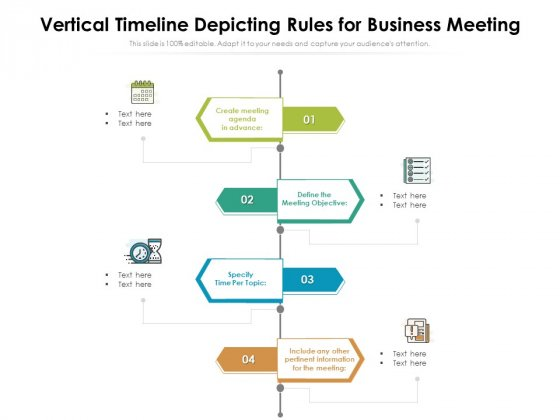 Vertical Timeline Depicting Rules For Business Meeting Ppt Inspiration PDF