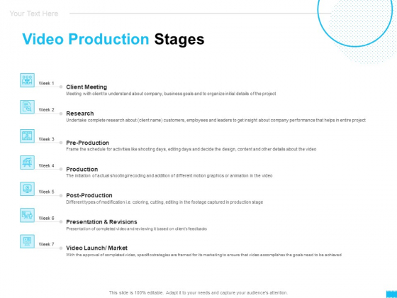 Video Ads Video Production Stages Ppt Show Vector PDF