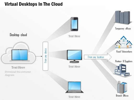 Virtual Desktops For Cloud Technology Powerpoint Template