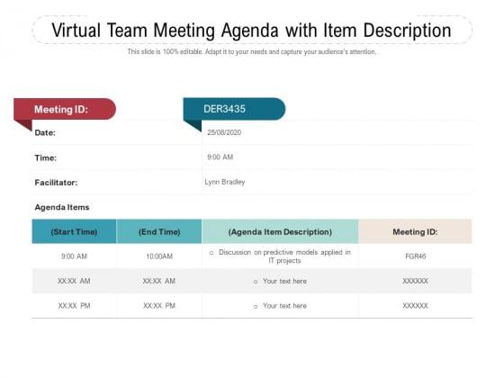 Virtual Team Meeting Agenda With Item Description Ppt PowerPoint Presentation Ideas Structure PDF