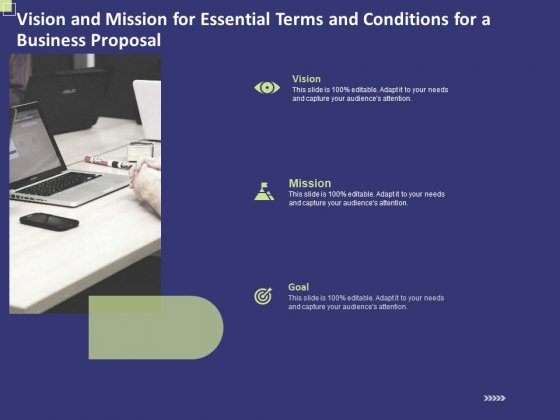 Vision And Mission For Essential Terms And Conditions For A Business Proposal Ppt Summary Objects PDF