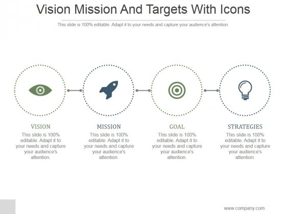 Vision Mission And Targets With Icons Ppt PowerPoint Presentation Template