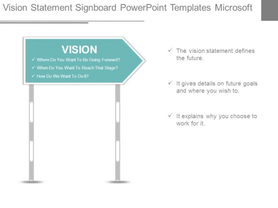 Vision Statement Signboard Powerpoint Templates Microsoft