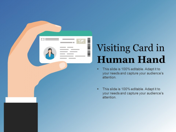 Visiting Card In Human Hand Ppt PowerPoint Presentation Infographics Slide Portrait
