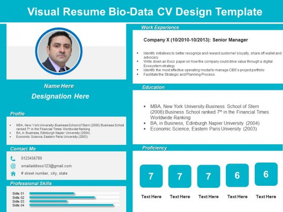 Visual Resume Bio Data CV Design Template Ppt PowerPoint Presentation Pictures Inspiration PDF