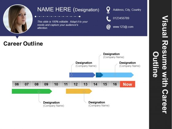 Visual Resume With Career Outline Ppt Powerpoint