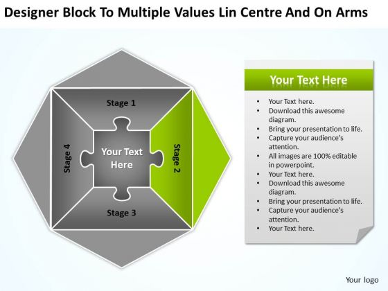 Values Lin Centre And On Arms Ppt Business Continuity Plan Template PowerPoint Templates
