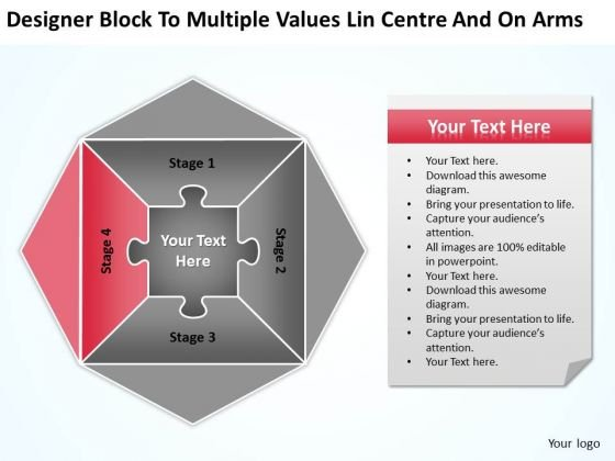 Values Lin Centre And On Arms Ppt Small Business Plan Template PowerPoint Templates