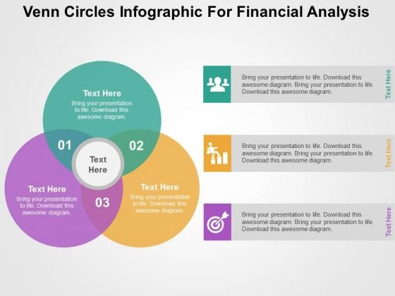 venn circles infographic for financial analysis powerpoint templates