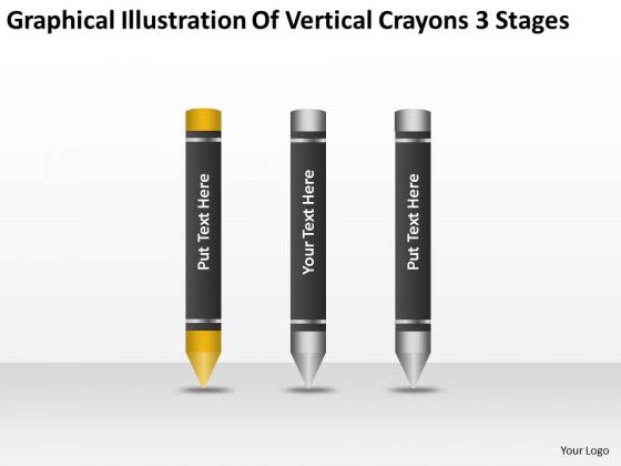 Vertical Crayons 3 Stages Ppt Personal Business Plan Template PowerPoint Templates