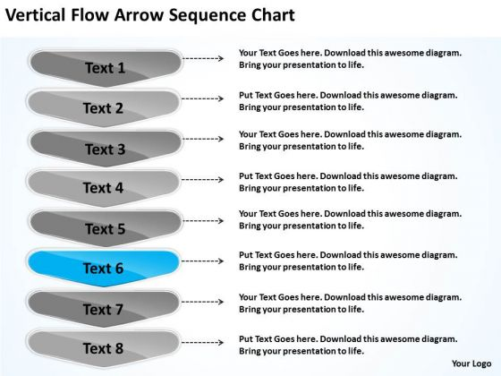 Vertical Flow Arrow Sequence Chart Outline Of Business Plan PowerPoint Templates