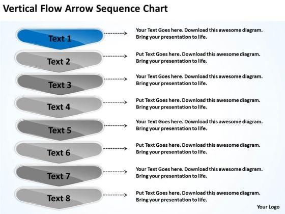 Vertical Flow Arrow Sequence Chart Website Business Plan PowerPoint Slides