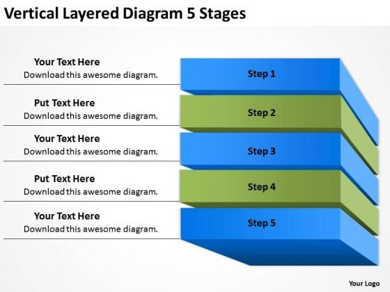 Vertical Layered Diagram 5 Stages Landscaping Business Plan PowerPoint Templates