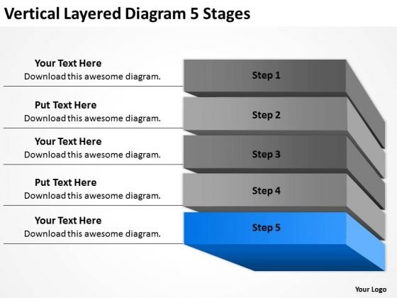 vertical layered diagram 5 stages ppt sample of small business plan