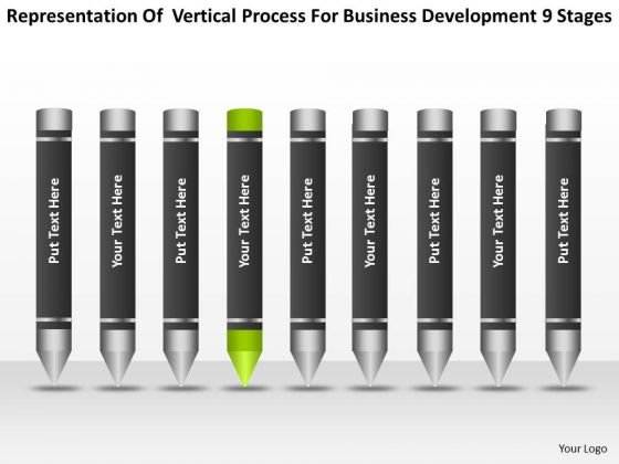 Vertical Process For Business Development 9 Stages Ppt Model Plan PowerPoint Slides