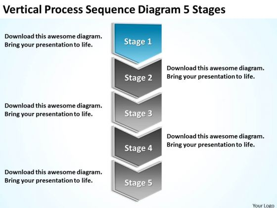 Vertical Process Sequence Diagram 5 Stages Business Plan PowerPoint Templates
