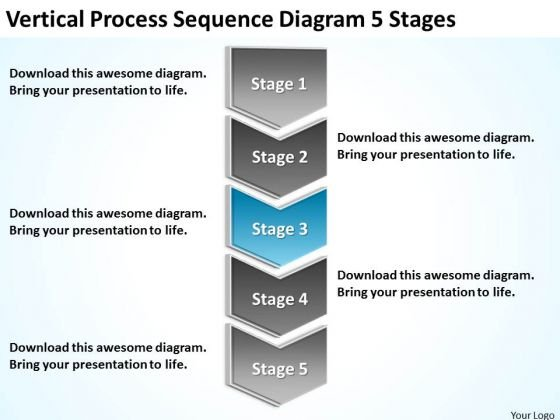 Vertical Process Sequence Diagram 5 Stages Business Plans PowerPoint Slides