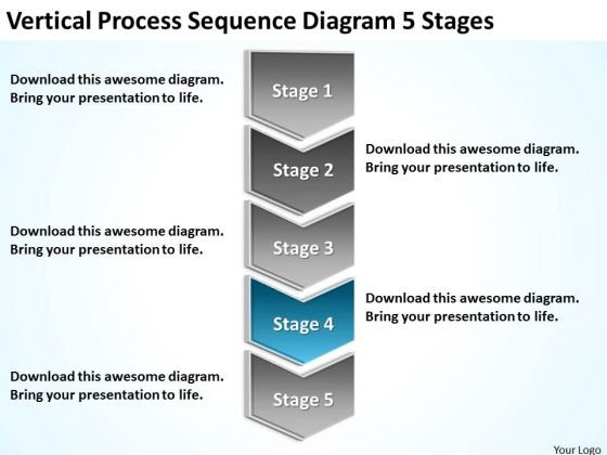 Vertical Process Sequence Diagram 5 Stages How To Develop Business Plan PowerPoint Templates