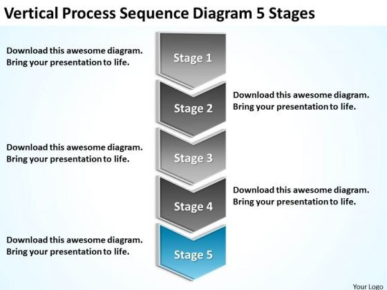 Vertical Process Sequence Diagram 5 Stages Ppt Business Plans PowerPoint Templates