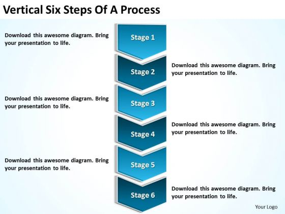 Vertical Six Steps Of Process Business Plan Form PowerPoint Slides