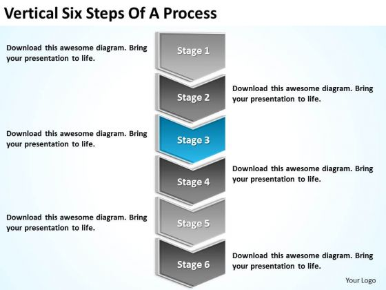 Vertical Six Steps Of Process How To Do Business Plan PowerPoint Slides