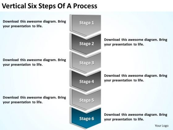 Vertical Six Steps Of Process Ppt Business Plan PowerPoint Slides