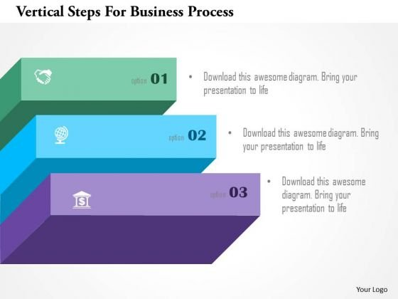 Vertical Steps For Business Process PowerPoint Template