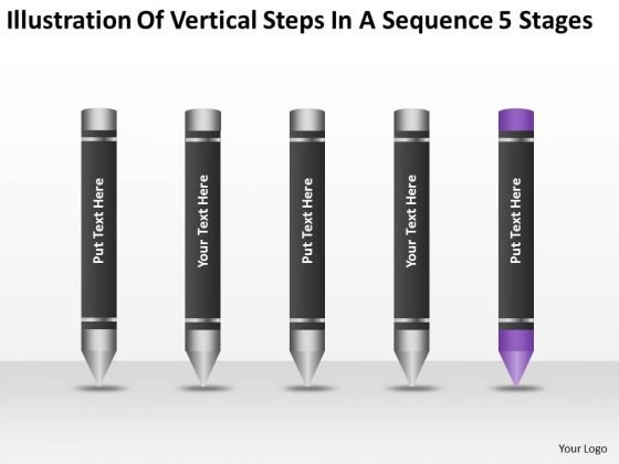 Vertical Steps In Sequence 5 Stages Ppt Business Plan Freeware PowerPoint Slides