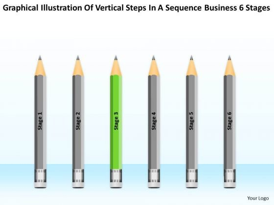 Vertical Steps In Sequence Business 6 Stages Plan Writer PowerPoint Slides