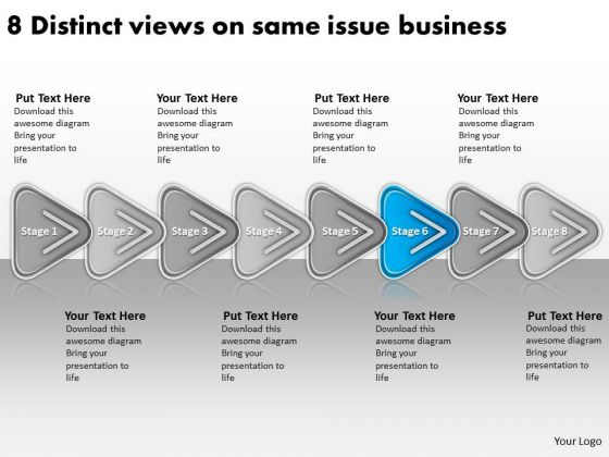 Views On Same Issue Business PowerPoint Theme Free Plan Examples Slides