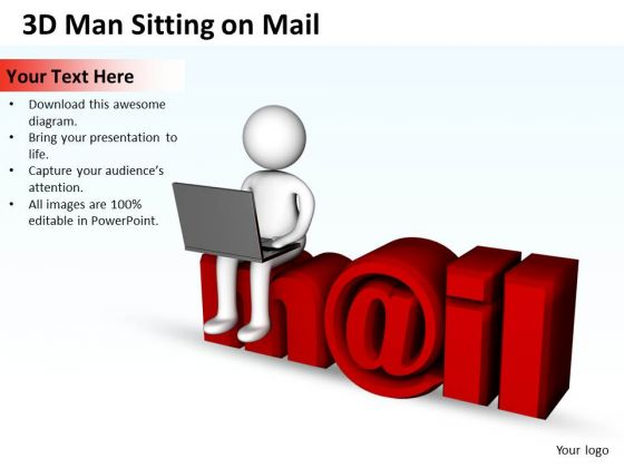 Vision Business Process Diagram Man Sitting On Mail PowerPoint Templates Ppt Backgrounds For Slides