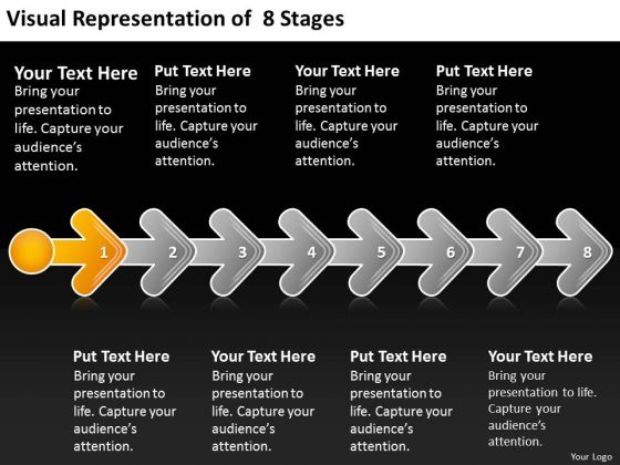 Visual Representation Of 8 Stages 1 Business Plan Layouts PowerPoint Templates