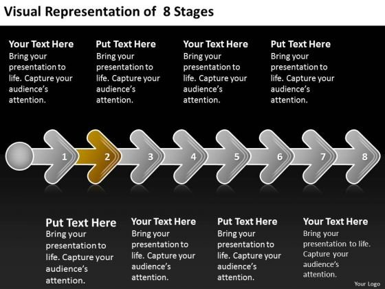 Visual Representation Of 8 Stages 2 Sales Business Plan Outline PowerPoint Slides