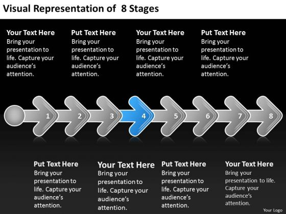 Visual Representation Of 8 Stages 4 Business Plan For Bar PowerPoint Slides